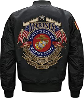 U.S. Marine Corps EST 1775 Semper Fidelis MA-1 Flight Embroidered Bomber Jacket
