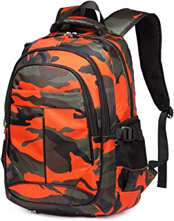BLUEFAIRY Camouflage Sport Backpacks for Boys with Basketball Compartment Kids Elementary School Bags for Children Bookbags Gifts (Camo Orange)