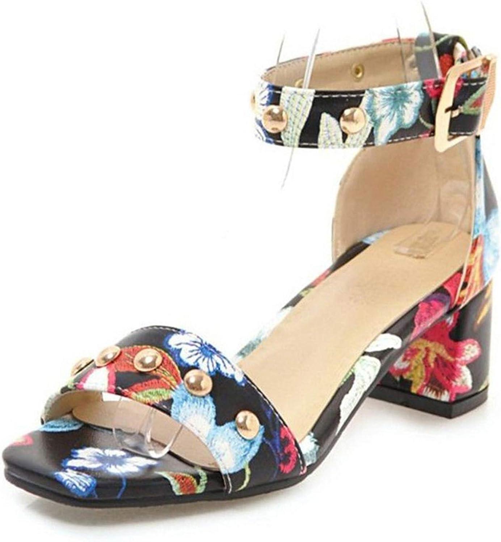 Fairly Ladies Embossed Flower shoes Woman Summer Ankle Strap Chunky Heel Rivet Lady,Black,4