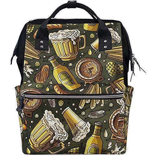 Sommer Bier Print Wickeltaschen Mummy Tote Bags Große Kapazität Multifunktions-Rucksack für die Reise