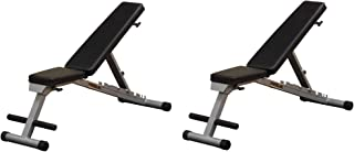 Body Solid PFID125X Powerline Flat Folding Home Gym Workout Multi-Bench Press (2 Pack)