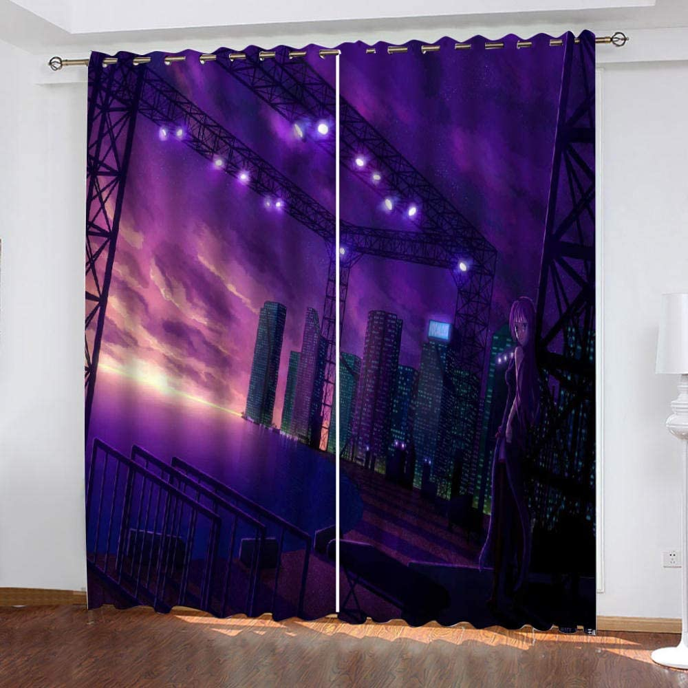 YMLJH Printed Blackout Curtains Night City 2X Outlet sale feature x L G W 43 84 store Inch