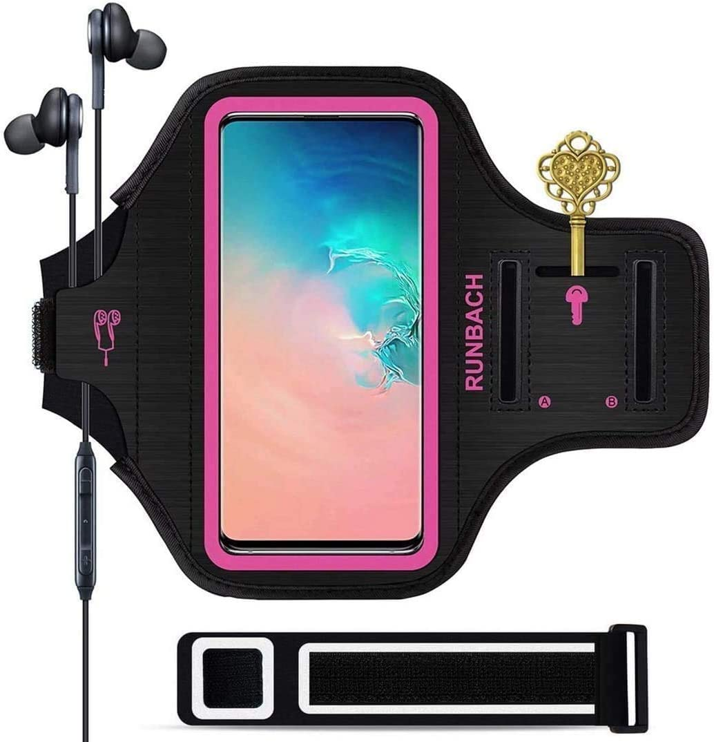 Galaxy S20+/S10+/S9+/S8+ Armband,RUNBACH Sweatproof Running Exercise Gym Cellphone Sportband Bag with Fingerprint Touch/Key Holder and Card Slot for Samsung Galaxy S20+/S10+/S9+/S8+(Pink)