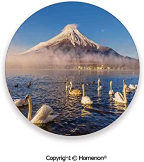 Mount Fuji Reflected in Lake Yamanaka at Dawn Japan Several Swans Image Print,Ceramic Stone With Cork Back White and Blue,3.9×0.2inches(6PCS),Ceramic Coasters Set With Cork Base