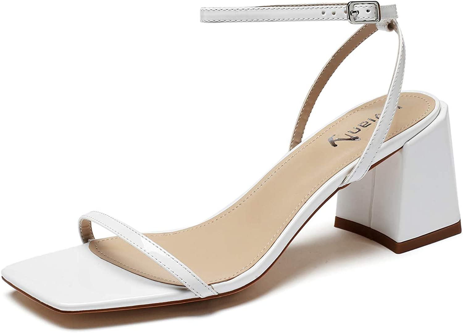 vivianly Womens Open Toe Ankle Strappy High Heels Sandals Stiletto Wedding Party Shoes
