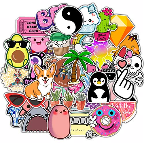 xinghe Autocollants pour Les Bouteilles d'eau Big 50-Pack Cute Aesthetic Trendy Stickers for Teens, Girls Perfect for Waterbottle Laptop Phone Travel Extra Durable 100% Vinyl (de-Lovely 1)