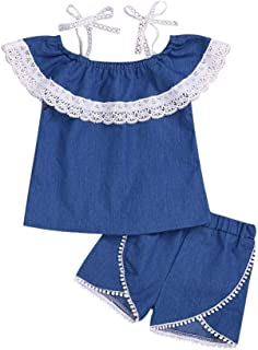 Weixinbuy Baby Girls Camisole Shirts Off-Shoulder Tops + Elastic Waist Shorts 2Pcs Summer Clothes Set