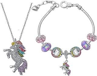 TikTok Direct Unicorn Gifts - Rainbow Unicorn Necklaces Charm Bracelets for Girls Jewelry Set
