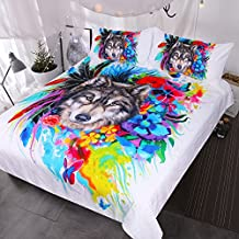 BlessLiving Floral Boho Wolf Duvet Cover Cool Wildlife Bedding Set Bright Rainbow Flower Blossoms Bed Spread (Twin)