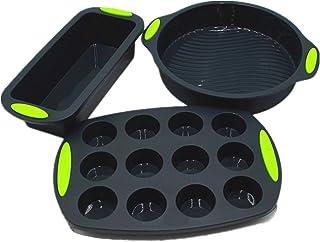 Moule Silicone Gateau Muffins Patisserie Pan Rond Boîtes Sans BPA Anti-AdhÉSif 3 Pcs Ensemble, Silicone 12 Tasses Muffin M...