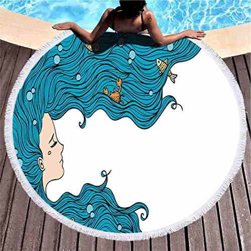 Kuidf Turquoise Beach Towel Girl Blue Hair Beach Large Round Beach Towel Blanket, Microfiber Roundie Tapestry Yoga Mat Towel for Women Man, 59 Inches