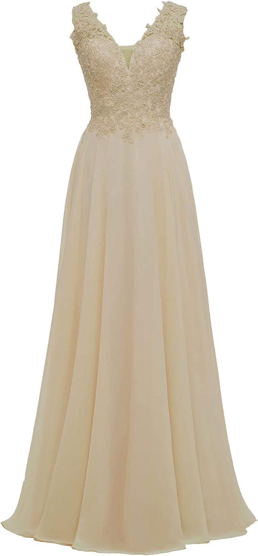 Rmaytiked Lace Chiffon Bridesmaid Dresses Long 新作販売 お買得 V-Neck Forma Prom