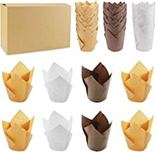 Wpxmer 150 Pieces Tulip Baking Paper Cups Cupcake Muffin Liners Baking Cup Holder for Party,Weddings Brown Natural and Whi...