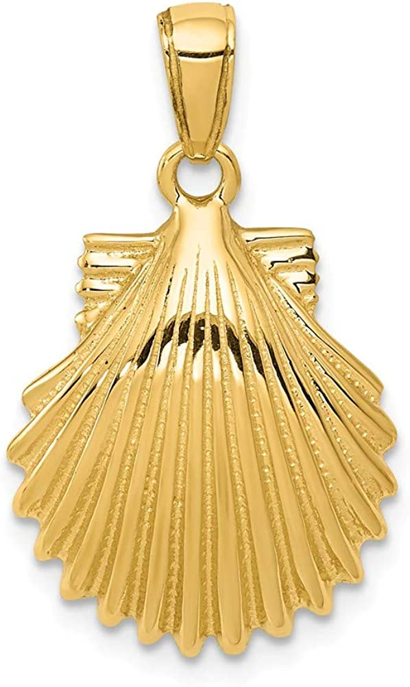 14K Yellow Gold Don't miss the campaign Scallop Max 77% OFF Pendant Shell