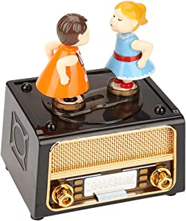 Sinctual Vintage Music Box, Retro Radio Shape Music Box Lovely Dolls Storage Music Box Wedding Valentine Gift