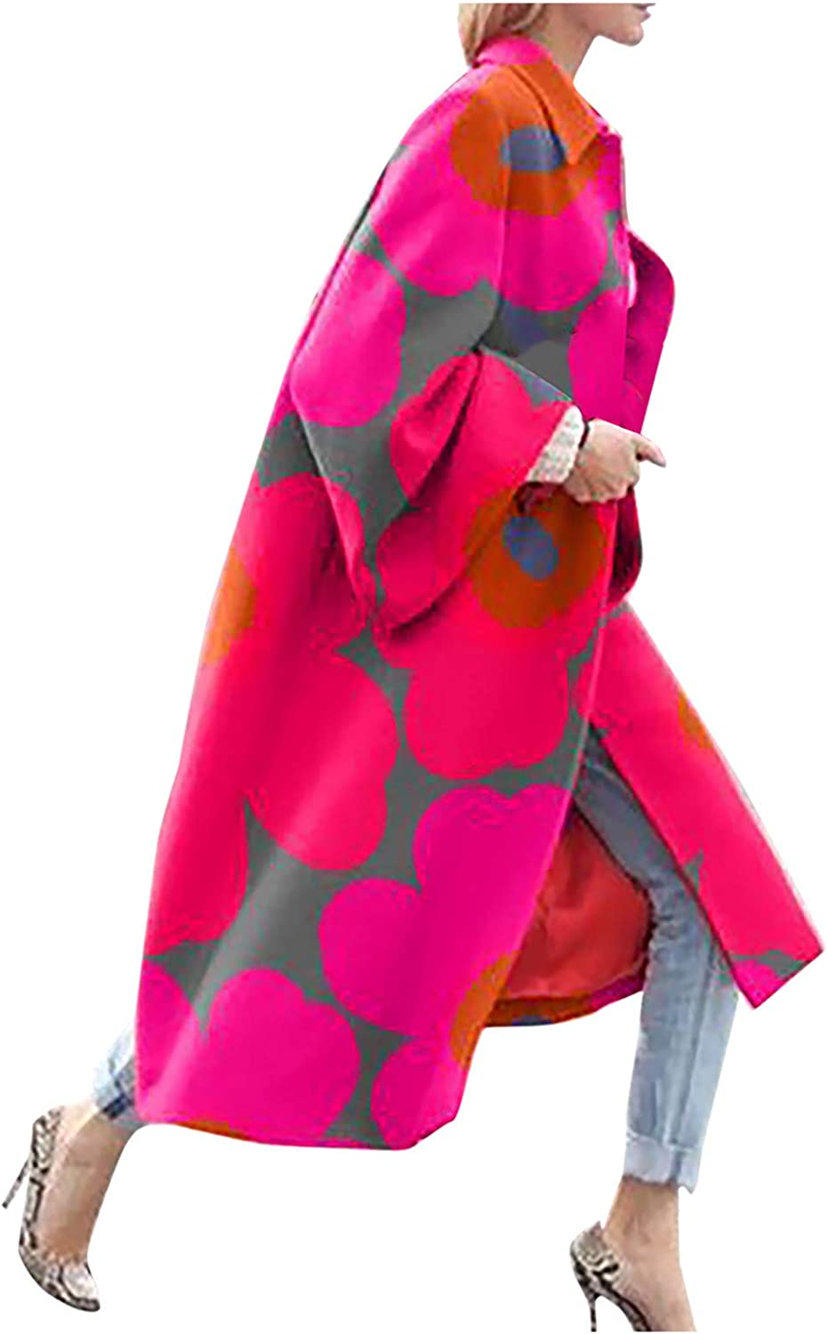 Women's Long Trench Jacket Winter Warm Coat Plus Size Vintage Floral Printed Pocket Outerwear Cardigan Overcoat S-5XL