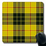 Ahawoso Mousepads for Computers Pattern Scottish Plaid Mac Leod Tartan Abstract Checkered Yellow Check Black Macleod Antique British Oblong Shape 7.9 x 9.5 Inches Non-Slip Oblong Gaming Mouse Pad