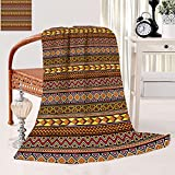 African Fleece Blanket Throw Blanket Motifs from The Dark Continent Diamond Shape Zig Zag and Triangles African Culture Soft Blanket 30 x 50 inch Multicolor