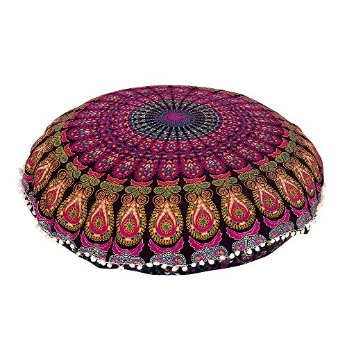 Radhykrishnafashions Indian 32' Large Hippie Mandala Floor Pillow Cover - Cushion Cover - Pouf Cover Round Bohemian Yoga Decor Floor Cushion Case (YELLOW LAVENDRA)