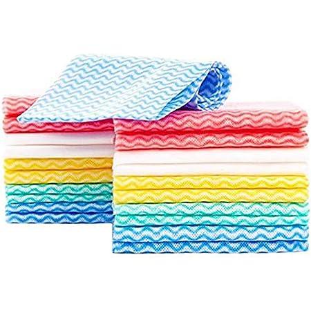KMAKII カウンタークロス 不織布ふきん 雑巾 キッチンクロス 台拭き、吸水性が良い 乾燥が速いので 繰り返し使える雑巾 イエロー 約33cmx60cm (60枚入 マルチカラー)