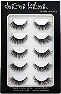 Sponsored Ad - DESIRES LASHES By EMILYSTORES Natural Eyelashes 3D Faux-Mink Lashes Multipack 5Pairs, Natural