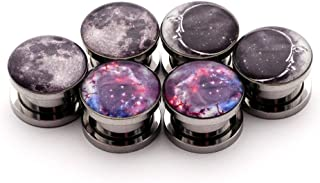 Set of 3 pairs Screw on Picture Plugs - Set #1 - (Full Moon, Moon Style 2, Galaxy) - All 3 pairs included