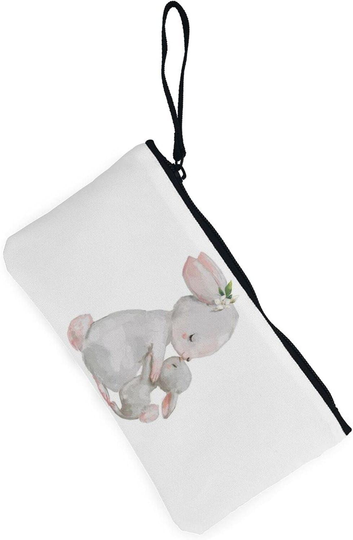 AORRUAM Rabbit Mother Kisses Bunny Canvas Coin Purse,Canvas Zipper Pencil Cases,Canvas Change Purse Pouch Mini Wallet Coin Bag