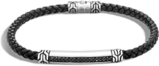 """John Hardy Men's""""Classic Chain"""" Sterling Silver and Black Sapphire Black Leather Bracelet"""