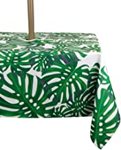 Jaoul Outdoor Umbrella Hole Tablecloth Spillproof Waterproof with Zipper for Spring & Summer, Family Patio Garden Cafe Tabletop Decor (Leaves, 60