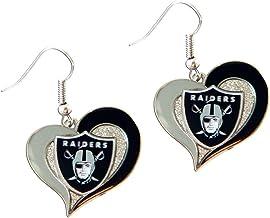 Aminco NFL Oakland Raiders Swirl Heart Earrings