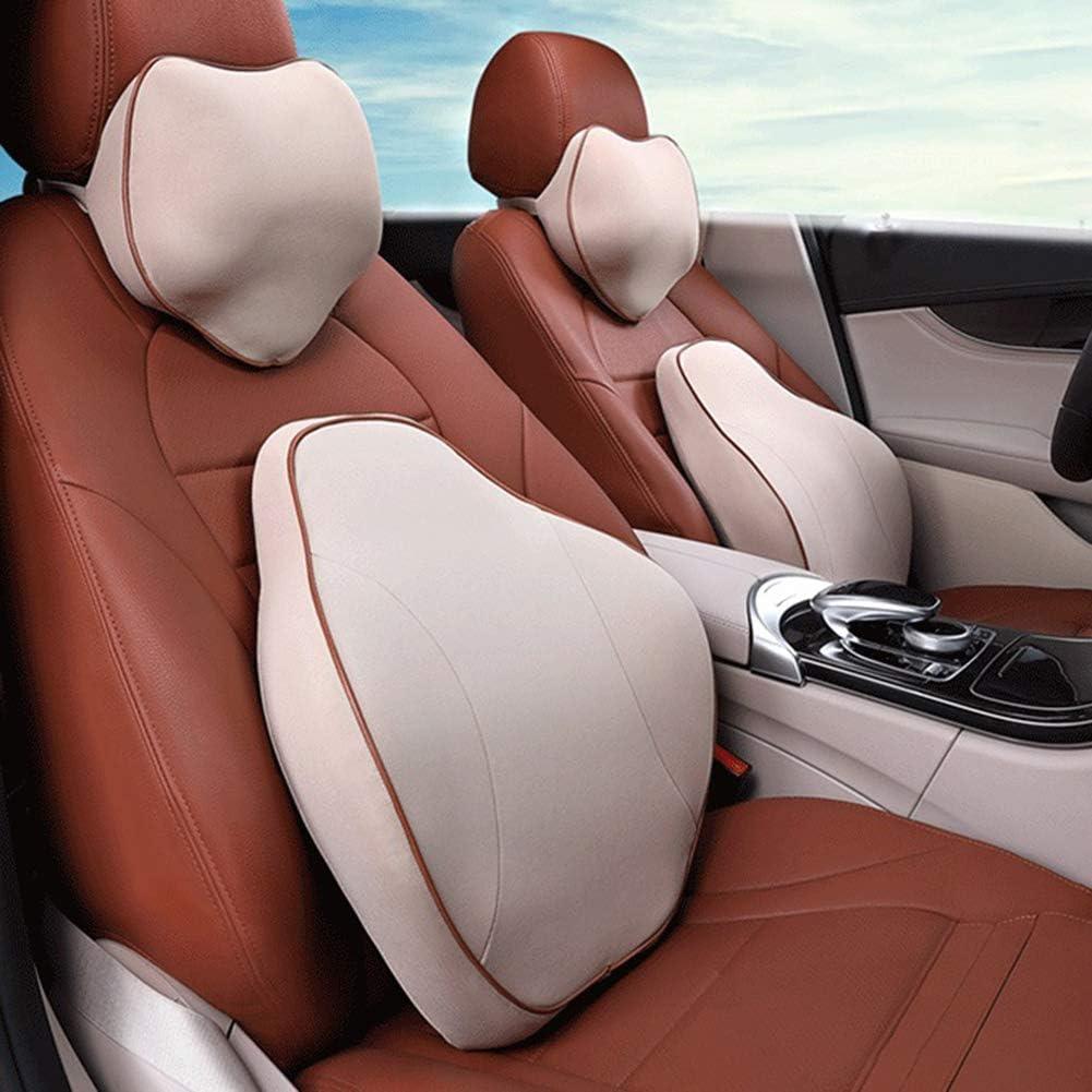 Accesorios de asiento del amortiguador lumbar del respaldo de espuma de memoria de coche asiento de coche ajustable para conducir y viajar,Beige