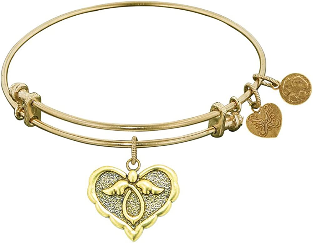 Angelica Collection Antique Stipple Finish Brass Angel Expandable Bangle