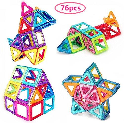 Morkka Magnetische Bausteine 76 Teile Magnete Bauklötze Konstruktion Blöcke Pädagogisches Spielzeug Set Kreative Spielzeugauto Tolles (76PCS)
