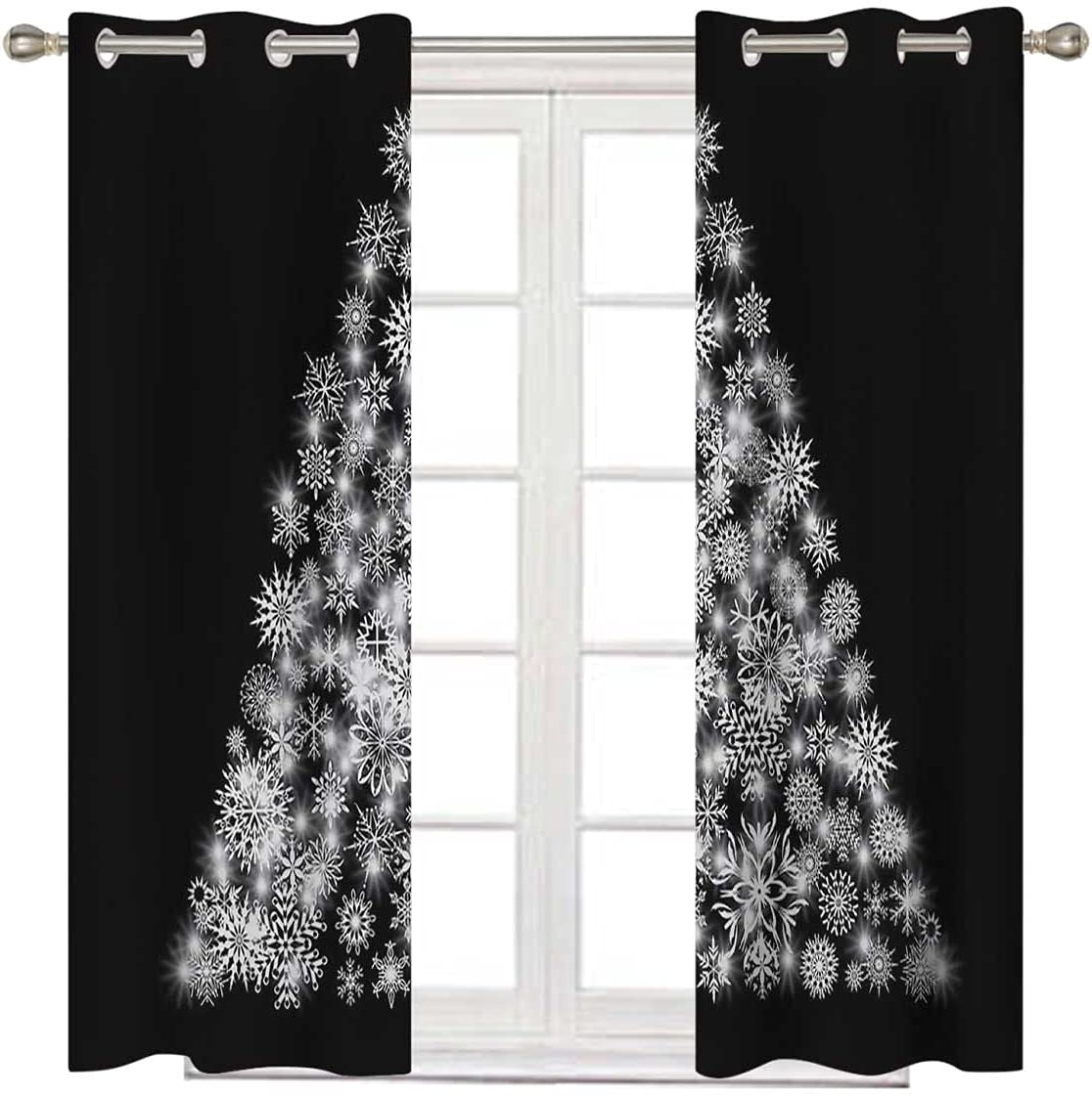 Farmhouse Curtains 108 Inch Long Snowflake Decor Glow Christm Limited Cheap mail order shopping time sale g