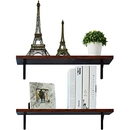 Amazon Com Auxley Wall Mounted Floating Shelves Rustic Wood Wall Storage Shelves For Bathroom Kitchen Bedroom And Office L23 6 X W7 9 Walnut Brown Set Of 2 Brackets Home Kitchen