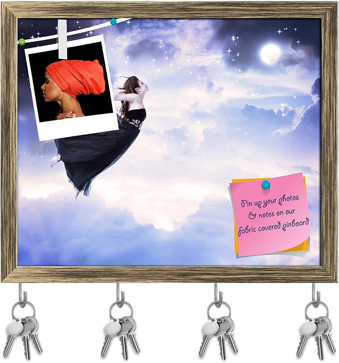 Artzfolio Girl Jumping in The Moonlight Sky Key Holder Hooks   Notice Pin Board   Antique golden Frame 19.4 X 16Inch