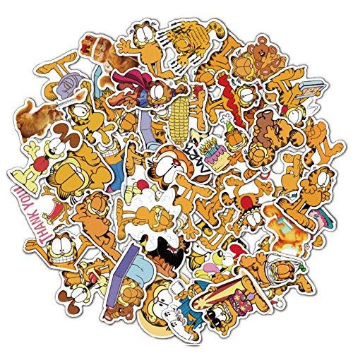 BAIMENG Garfield Cartoon lindo cuaderno equipaje guitarra refrigerador monopatín impermeable etiqueta 50 piezas