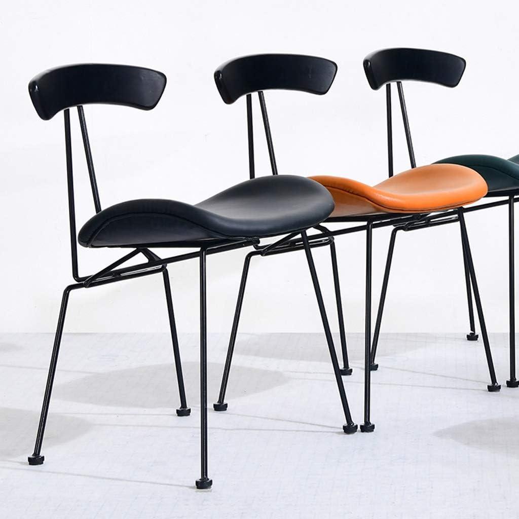 JT- Chaise de Salle, Chaise de Bureau Simple, créative Dossier, Chaise Loisirs, Maison Adulte Chaise de Salle Doux et Confortable (Color : Orange) Black