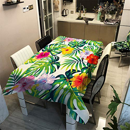 Morbuy Nappe Anti Tache Rectangulaire/Carrée, Imperméable Étanche à l'huile 3D Imprimé Couverture de Table pour Ménage Cuisine Jardin Picnic Exterieur (Vertes Feuilles Tropicales,140x200cm)
