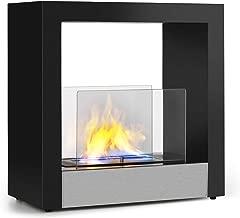 Klarstein Phantasma Cube Chimenea - Quemador de Bio etanol de Acero sin Humos ni olores , Depósito de 1,3 litros , Duración de 4 Horas , Asistente de Apagado , Acero Inoxidable y Vidrio , Negro