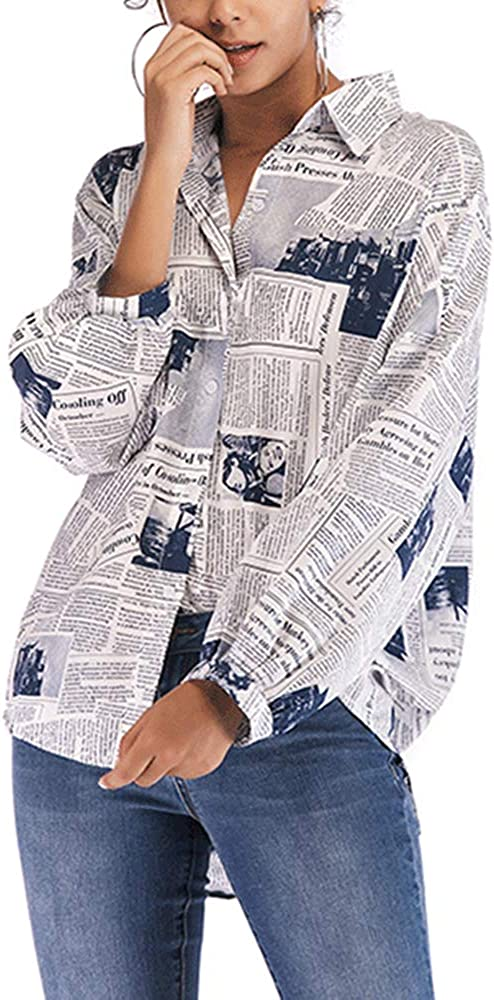 WSIRMET Women's Lapel Neck Newspaper Print Shirts Tops Long Sleeve Button Down Casual Loose Tunic Blouses