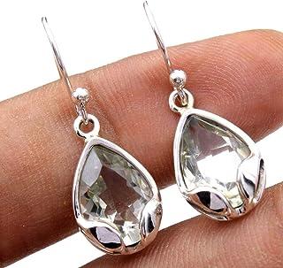 Orecchini pendenti in argento sterling con pietre preziose ametista per donne e ragazze, orecchini con castone per orecchi...