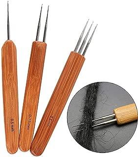 3 Pcs/Set Crochet Hook Needle Bamboo Dreadlocks Weaving Tool Braid Craft(0.5mm1 Hook, 0.75mm2 Hooks,0.5mm 3 Hooks)