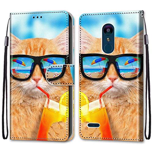 i-Hülle Handy Schutzhülle Kompatibel mit LG K8 2018 Handyhülle Phone Hülles PU Lederhülle Brieftasche BookStyle Etui Handytasche Wallet Kartenfach Flip Tasche für LG K8 2018 LG K9,Kühle Goldkatze