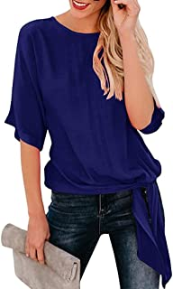 Toimoth Womens Casual Basic Knot Tie Front Loose Fit Half Sleeve Tee Top T-Shirt Blouse