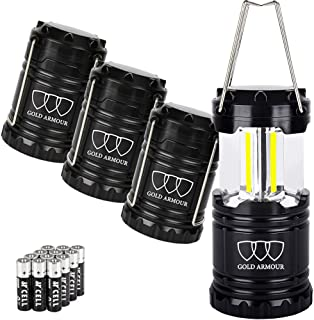 Gold Armour 4 Pack LED Camping Lantern Portable Flashlight with 12 aa Batteries –..
