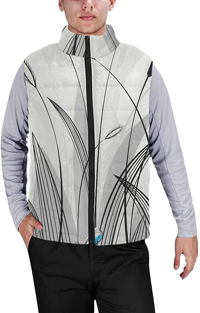 InterestPrint Men's Full-Zip Padded Vest Jacket for Outdoor Activities Dragon and Princess Sitting in a Cave