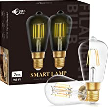 DORESshop Wi-Fi Smart ST64 LED Edison Bulb, E26 Dimmable 8W(60W Equivalent) Vintage Edison WiFi LED Filament Light Bulb, D...