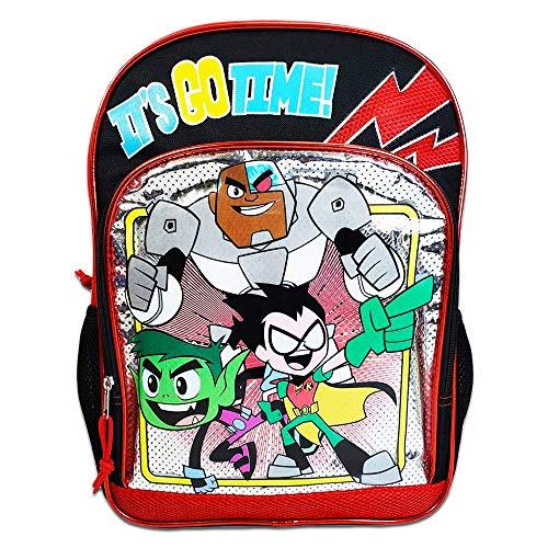 Teen Titans Go Backpack for School Kids ~ Deluxe 16' Teen Titans Backpack with Stickers (Teen Titans School Supplies)