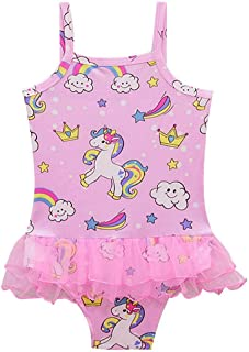 Toddler Girls' One-Piece Swimsuit Cartoon Pink Unicorn Flamingo Print Ballet Tutu Shirt Swimwear Bathing Suit